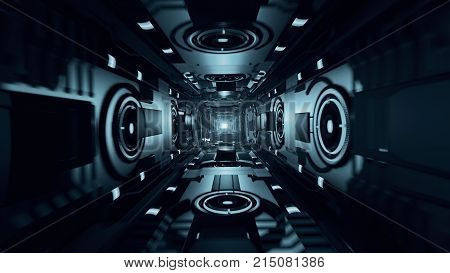Abstract Flight In An Abstract Metal Futuristic Corridor 3D Illustration