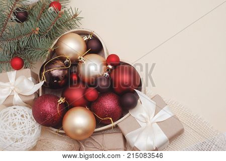 Winter or Cristmas Decorations Background - Red Balls