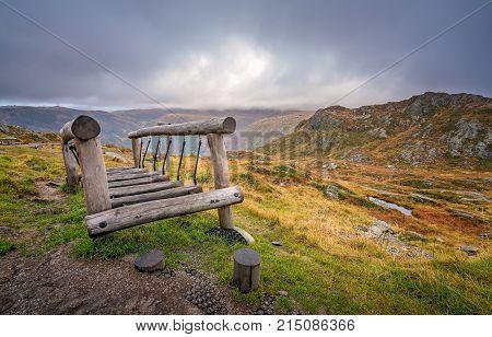 Small wooden bridge on the playground for children on the summit of Mount Ulriken, Bergen, Norway