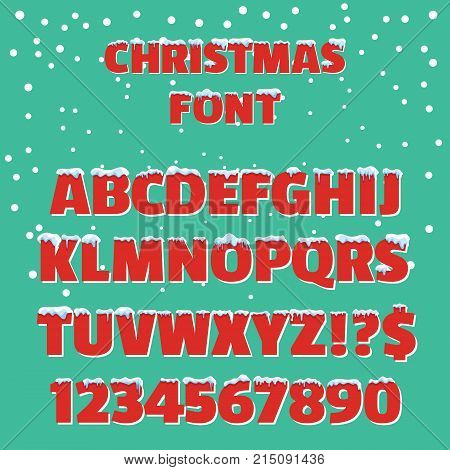 Christmas holiday vector red font. Christmas font with snow and ice abc and digit illustration on green background. Retro 3d font with snow caps.