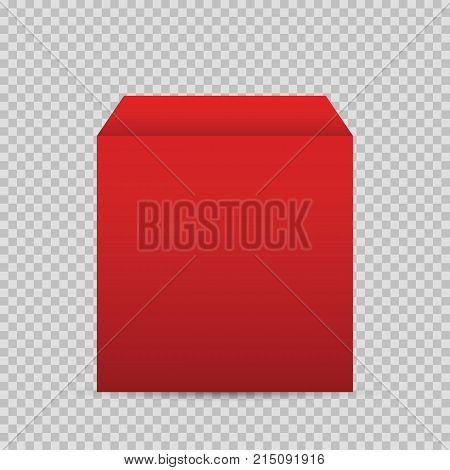 Realistic red box 3d podium blank pedestal or cube vector illustration. Red podium or platform vector illustration of geometric pedestal podium on transparent background