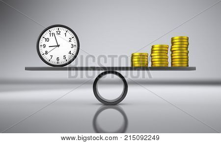 Time and money balance concept with clock and golden coins stacks balancing on a metal board 3D illustration.