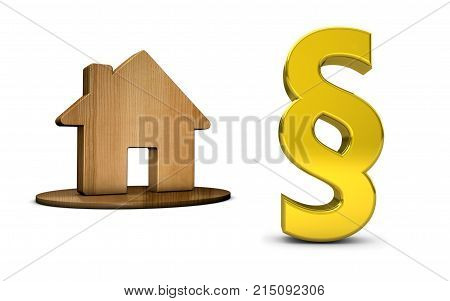 Paragraph sign and house icon 3D illustration on white background.