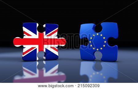 Brexit Britain exit from the European Union concept with Union Jack and EU flag on separated puzzle pieces 3D illustration.
