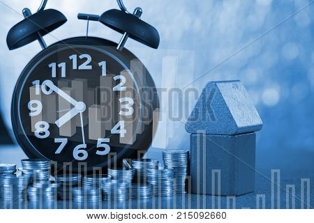 Double Exposure Of Model House And Alarm Clock And Step Of Coins Stacks With Financial Graph, Time F