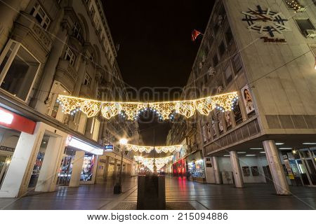 BELGRADE SERBIA - NOVEMBER 19 2017: Main Christmas decorations on Kneza Mihailova street main street of Belgrade during a cold winter night
