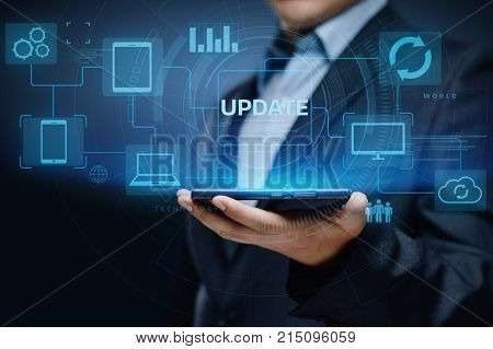 Update Software Computer Program Upgrade Business technology Internet Concept. poster