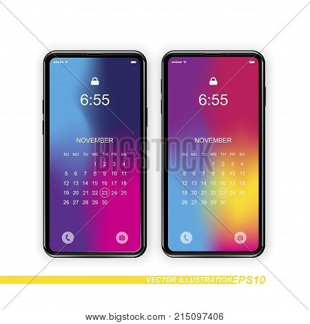 Template Realistic Smartphones With A Gradient And Screen Lock On A White Background. Phone With Set