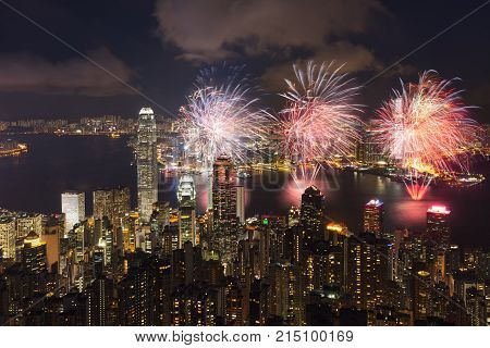Victoria Harbour with fireworks Victoria peak Hong Kong China