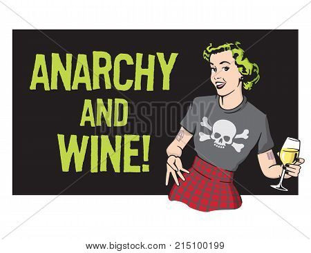 Anarchy and Wine Punk Rock Housewife Vector Design Retro housewife illustration wearing punk rock clothes and drinking wine.