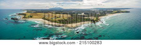 Aerial panorama of ocean coastline at Narooma New South Wales Australia