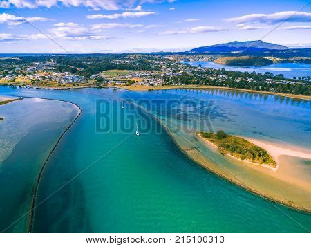Aerial view of boats moored near Narooma NSW Australia