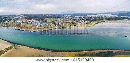 Aerial panorama of luxurious homes at Narooma NSW Australia