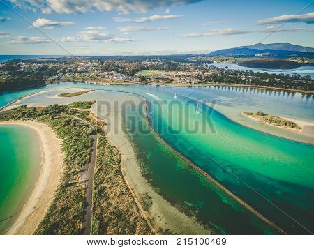 Aerial view of shallow ocean water. Narooma NSW Australia