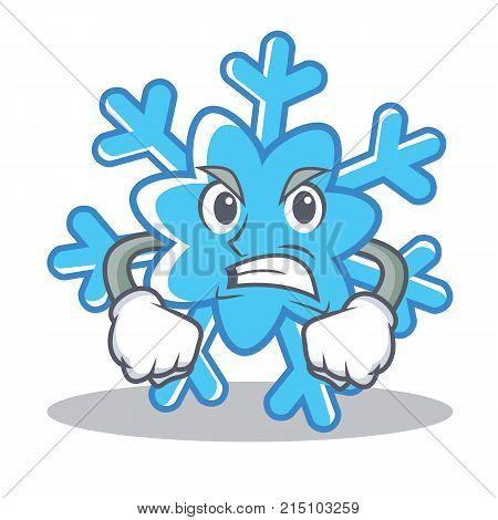 Angry snowflake character cartoon style vector illustration