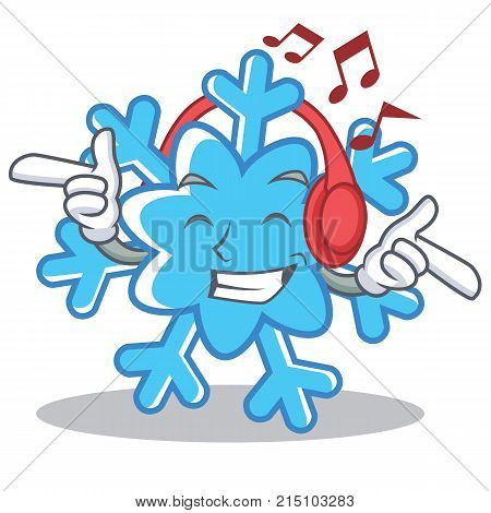 Listening music snowflake character cartoon style vector illustration