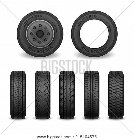 Realistic vector tires set. Car tires with different tread marks. Vector wheel icons EPS 10