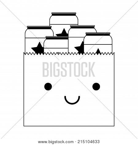 kawaii paper bag with canned beers in black silhouette vector illustration