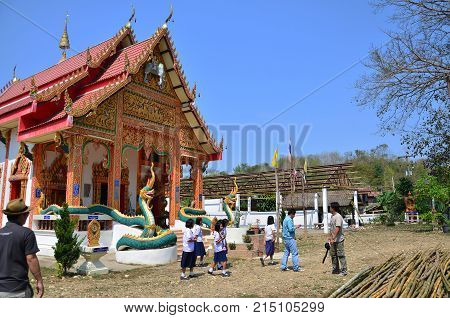 Travlers Thai People Go To Wat Don Moon Temple For Praying And Respect Buddha Statue Inside Ubosot