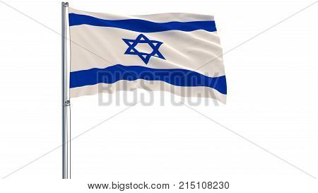 Isolate flag of Israel on a flagpole fluttering in the wind on a white background 3d rendering