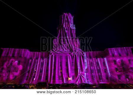 BERLIN - OCTOBER 08 2017: Altes Stadthaus (Old City Hall) in festival illumination. Festival of lights 2017.