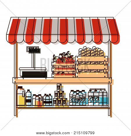 supermarket shelf with weighing machine and sunshade with foods and beverages in watercolor silhouette vector illustration