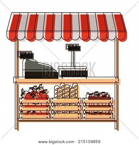 supermarket shelf with weighing machine and cash register and sunshade with foods in watercolor silhouette vector illustration