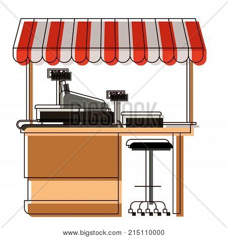 supermarket shelf with weighing machine and cash register point with sunshade in watercolor silhouette vector illustration