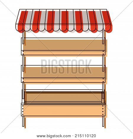 supermarket shelves empty with three levels and sunshade in watercolor silhouette vector illustration