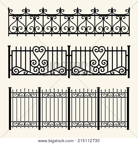 Set of decorative fences made of wrought iron