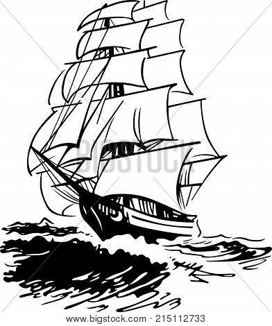 Saint sailing ship in the open sea