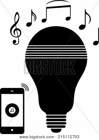 LED bulb with a speaker, music symbol