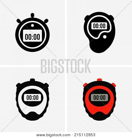 Set of four hand stopwatches, shade pictures