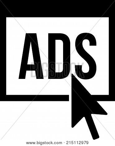Online advertising, letters ADS and an arrow