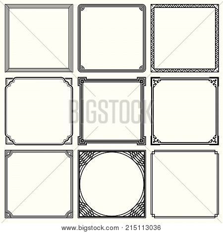 Set of nine simple frames with decorative corners