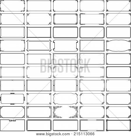 Set of fifty simple decorative rectangle frames