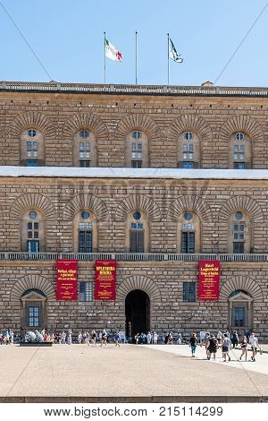 Florence, Italy - August 18, 2016: The Palazzo Pitti is a  Renaissance palace in Florence, located on the south side of the River Arno, a short distance from the Ponte Vecchio.