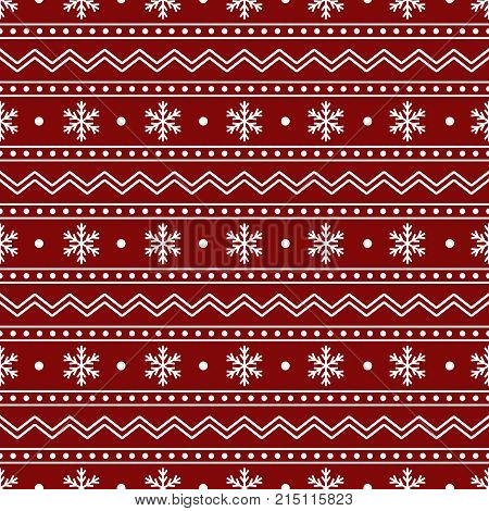 Christmas Seamless Pattern of White Snowflakes and Lines on Red Backdrop. Continued Winter Background for Cloth Fabric Textile Tissue Pack Paper Wrapping Paper.