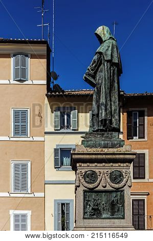 Monument to Giordano Bruno in Rome, Italy. Bruno was an Italian Dominican philosopher and scientist, burned at the stake in 1600 by the Roman Inquisition in the place where his monument stands. poster
