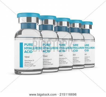 3D Render Of Hyaluronic Acid Vials