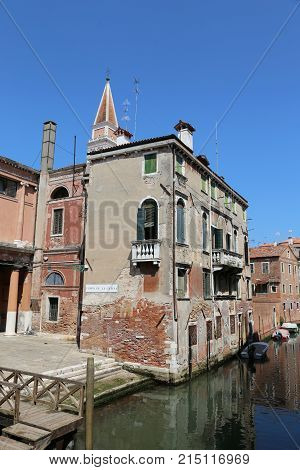 Venice Italy Houses Near The Navigable Canal