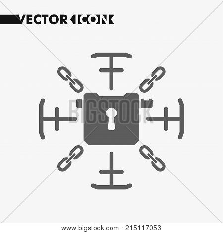 Lock sign with chains. Information security lock concept icon. Security lock symbol for your web site design, lock logo, sign, app, UI. Vector.