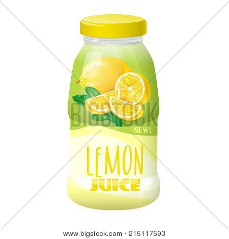 Vector illustration of a plastic bottle of white color with a lid with a lemon image label. Simple packaging for drinks and juices, template, mock up, ready for branding.