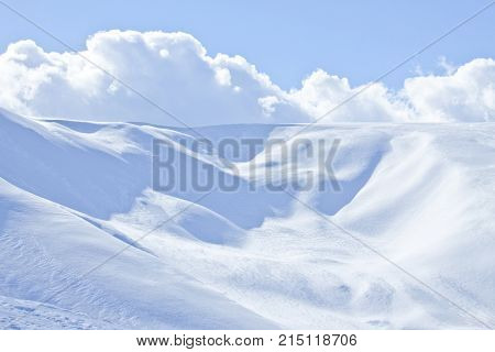 Carpathian mountain landscape. Panorama of Snow Mountain. Snow mountains on bright winter day