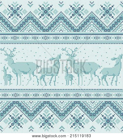 Traditional baltic scandinavian slavic folk embroidery Knit ornament Seamless pattern for neckline design knit textile Tribal native style Vector abstract geometric background
