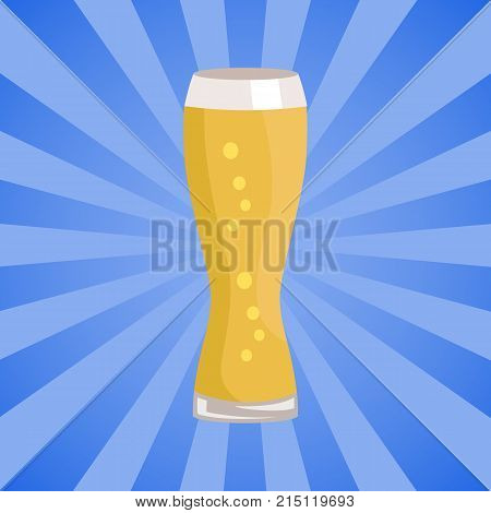Weizen glass of beer isolated on abstract background with rays vector. Glassware of light alcohol drink with bubbles, symbol of Oktoberfest festival