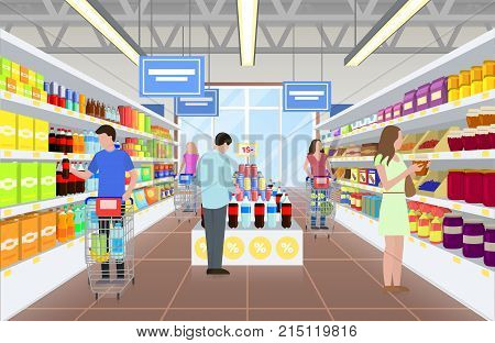 People at the supermarket in the process of buying some food to bring to home, women and men with trolley and lady with jar on vector illustration