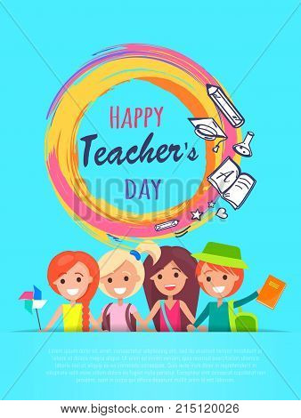Happy teachers day banner with colorful circle in centerpiece, icons of stars, pen and book, and laughing kids plus text sample vector illustration