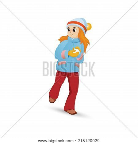 Pretty girl in warm clothes making snowball, winter activity, retro cartoon vector illustration isolated on white background. Happy girl playing snowballs, making snow ball, winter outdoor activity