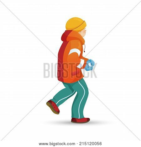 Teenage boy in warm clothes making snowball, winter activity, retro cartoon vector illustration isolated on white background. Happy boy playing snowballs, making snow ball, winter outdoor activity